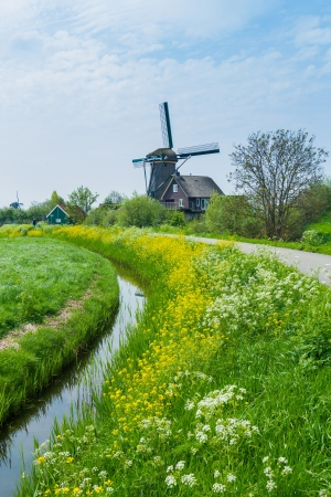 Windmill on the outskirts of Amsterdam  Holland the Netherlands  Vertical view Stock Photo - 17968071