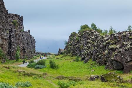 crater highlands: Islandia paisaje de verano Thingvellir National Park - famosa zona de Islandia