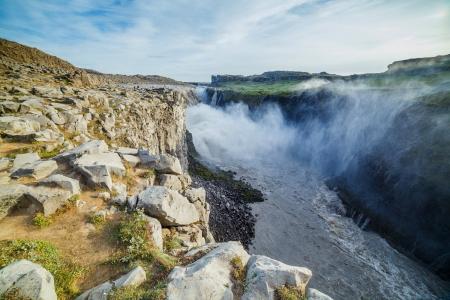 Dettifoss - largest waterfall in Europe in terms of volume discharge  Jokulsa a Fjollum river in Jokulsargljufur National Park  Iceland Stock Photo - 18181628