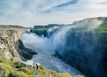 Dettifoss - largest waterfall in Europe in terms of volume discharge  Jokulsa a Fjollum river in Jokulsargljufur National Park  Iceland  photo