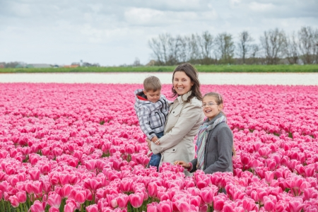 Mother with her child walks between of the purple tulips field photo