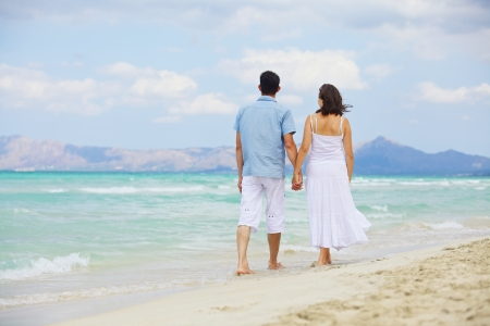 Portrait Of Happy Beautiful Couple Enjoying At Beach photo