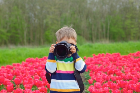 Cute little boy is taking pictures in field with tulips in Holland Stock Photo - 18871863
