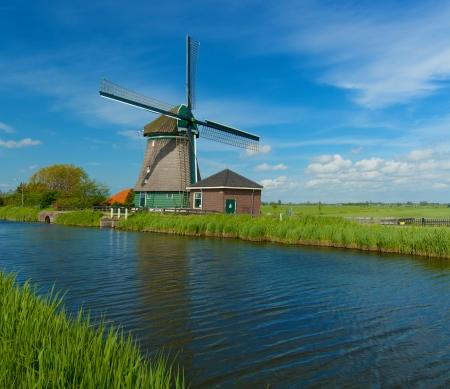 Windmill on the outskirts of Amsterdam  Holland the Netherlands  Panorama photo
