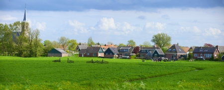 Typical dutch landscape in springtime in the Netherlands  Panorama Stock Photo - 19085296