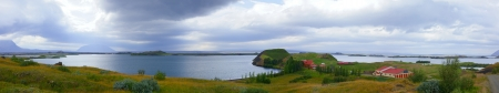 Iceland landscape at summer cloudy day  Mountain lake Myvatn  Panorama photo