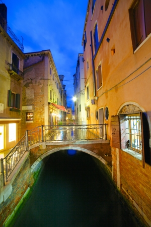 View of a street in venice in the night, Venice, Italy  Vertical view photo