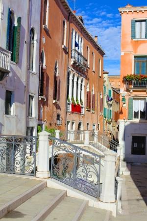 Beautiful romantic Venetian scenery  Street, canal, bridge  Venice  Italy Stock Photo - 19969689