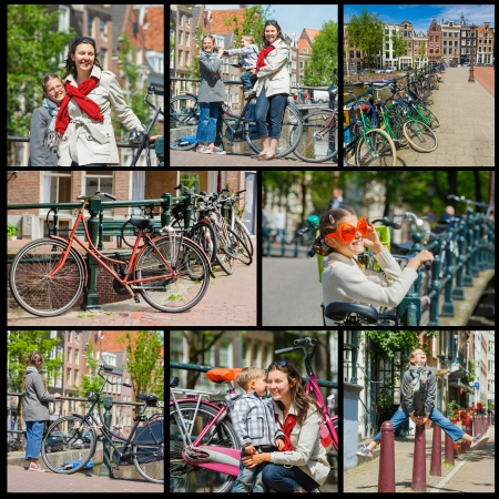 Collage of images tourists in Amsterdam  Mother with her kids walking in the streets of Amsterdam  The Netherlands Stock Photo - 20112502
