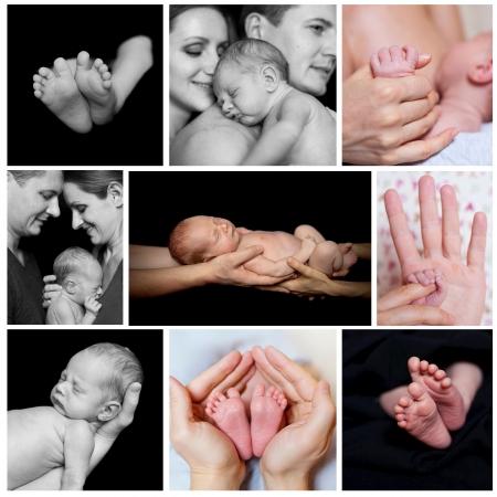 nacimiento bebe: Collage de imágenes de bebé recién nacido en un padre manos Photo Negro y blanco