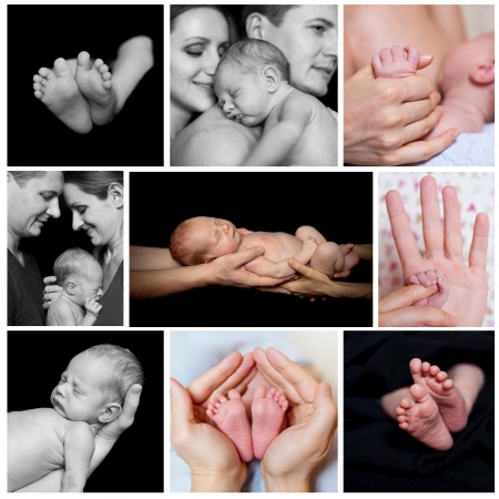 Collage of images newborn baby in a parent hands  Black-and-white photo