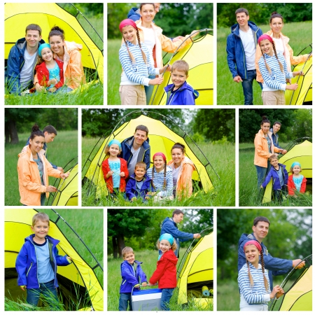 Collage of images family with three kids in tent in camping on the nature  Stok Fotoğraf