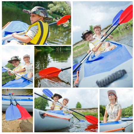 Collage of images happy young boy with mother paddling a kayak on the river, enjoying a lovely summer day photo