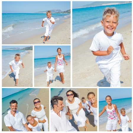 Collage of images happy family running down the beach on summer photo