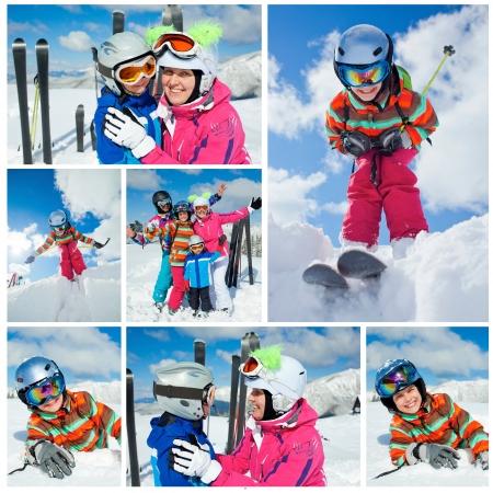 スキー、冬、雪、太陽、楽しい冬の休暇を楽しんでいる家族の画像のコラージュ 写真素材
