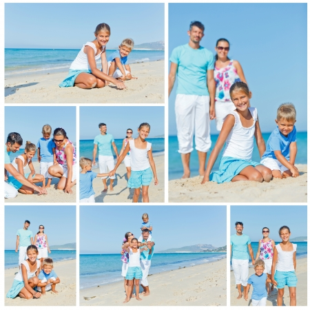 Collage of images family of four having fun on tropical beach photo