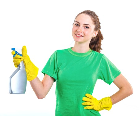 Maid woman is ready for cleaning  Isolated white background photo