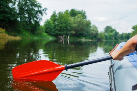 canoeing: Red paddle for white water rafting and kayaking Stock Photo