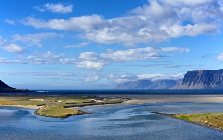 Iceland summer landscape  Fjord and mountains  Panorama  photo