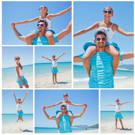 Collage of portrait of father and daughter having fun on tropical beach photo