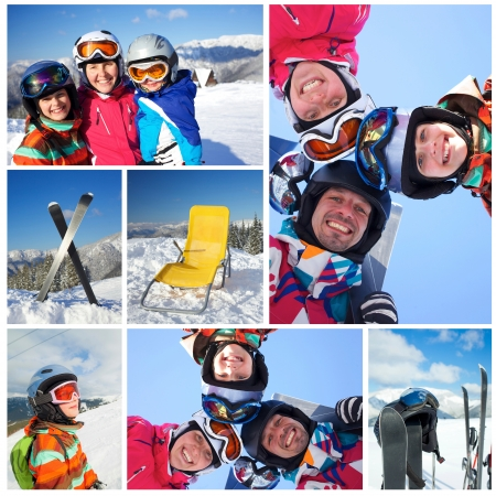 Collage of family in ski goggles and a helmet with his mother in the mountains photo