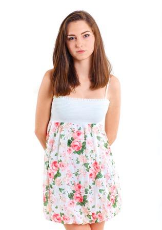 Portrait happy teenage girl  Isolated over white background  photo