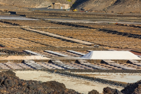 Famous salt refinery, Saline from Janubio, Lanzarote, Spain photo