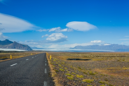 Highway through Iceland landscape sunny day  Horizontal shot photo