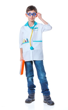 doctor s smock: A little smiling doctor with stethoscope and syringe  Isolated on white background