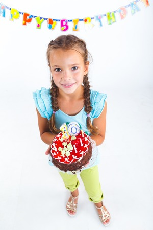 Pretty beautiful girl with birthday cake on birthday party  photo