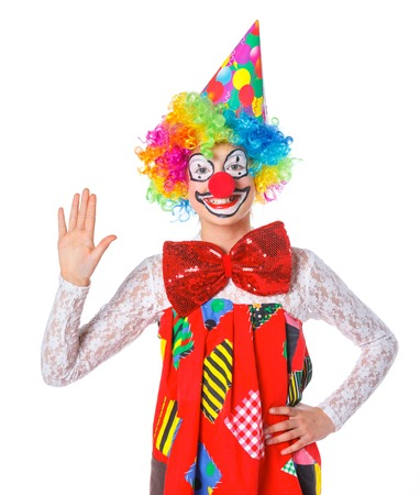 Portrait of a cute girl clown  Isolated on white background  photo