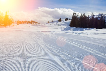 gstaad: Sunny slope on the skiing resort  Austria
