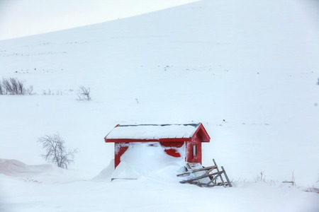 Red wooden Finnish house covered with snow photo
