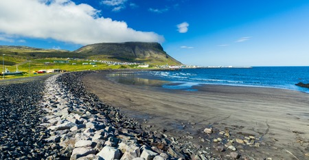 West Iceland Sea Lagoon Landscape at Summer Sunny Weather\ Panorama