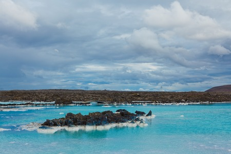 therapy geothermal: The famous blue lagoon geothermal bath near Reykjavik, Iceland Stock Photo