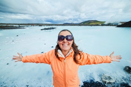 Woman in The Blue Lagoon geothermal bath resort in Iceland photo