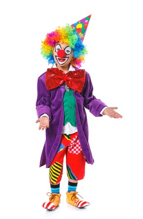 Cute boy clown  Isolated on white background