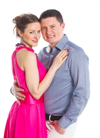 Happy couple  Attractive man and woman being playful  Isolated on white background