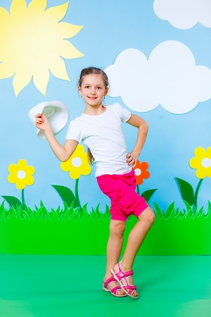 Lovely Young girl wearing colorful summer clothing on Fashion and Beauty Summer theme Stock Photo - 27344670