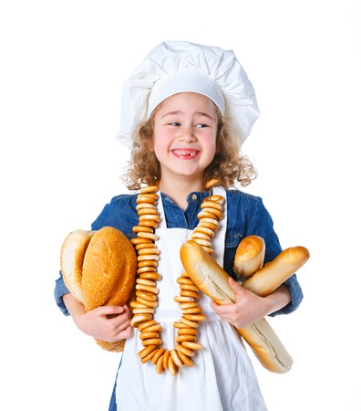 Little Cook With Bread and Bagels  Isolated on white background  photo