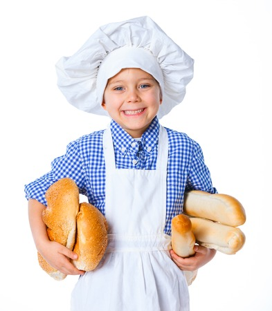 Little Cook Boy With Bread  Isolated on white background