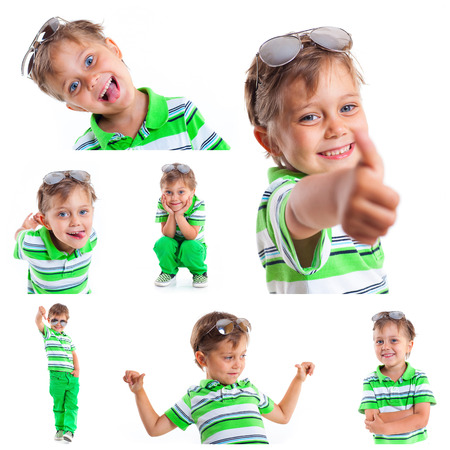 baby 4 5 years: Collage of images of a boy with sunglasses and wearing green clothing  Isolated on white background