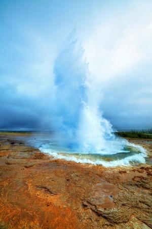 Eruption of Strokkur Geyser in Iceland  Vertical view