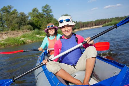 Kayaking on river  photo