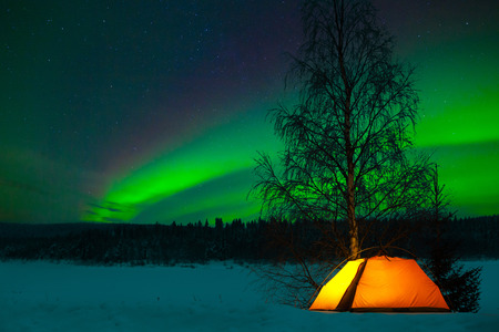 Camping tent in the north 스톡 콘텐츠