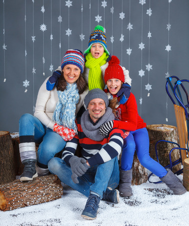 Winter Fashion. Happy family. photo