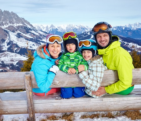 Family enjoying winter vacations. photo