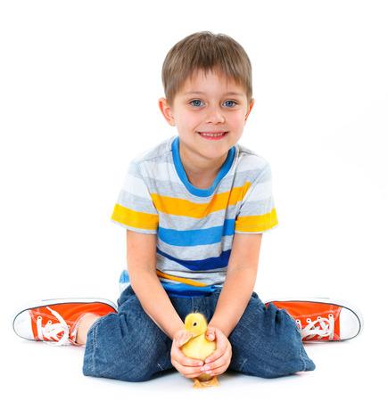 ducklings: Boy and ducklings