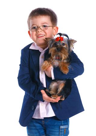 schooler: Boy with his Yorkshire terrier