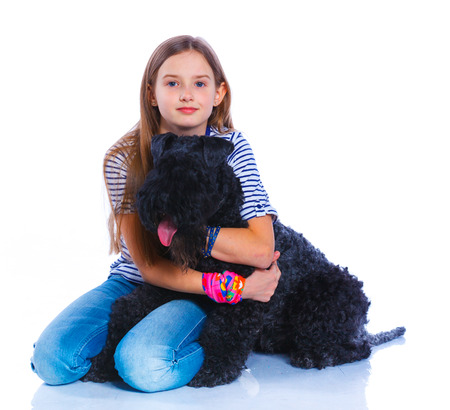 kerry blue terrier: Girl with his Kerry Blue Terrier